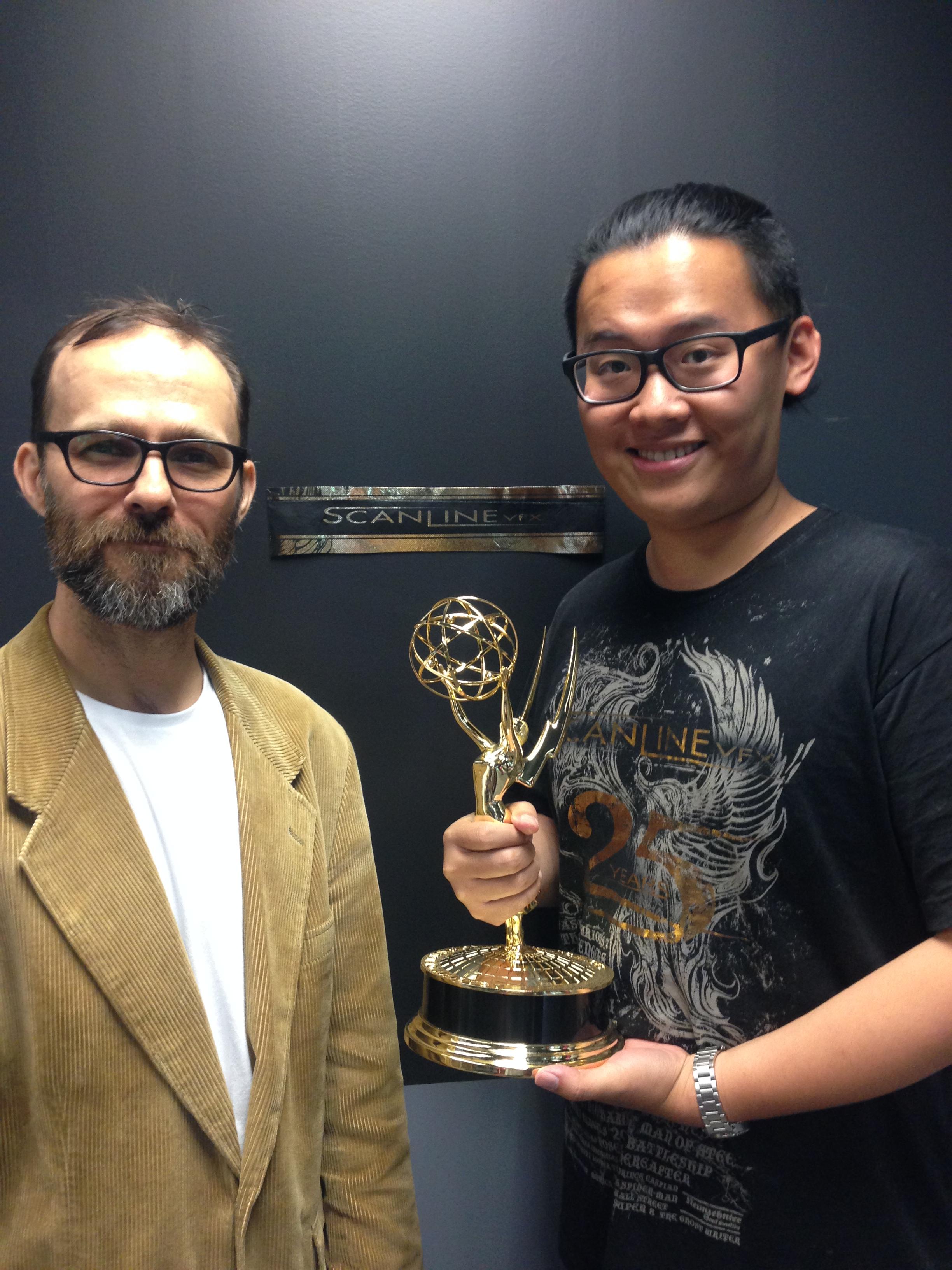 參與冰與火之歌第四季得到艾美獎最佳視覺特效肯定(與總監).JPG